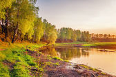Summer sunset around field and river — Stock Photo