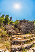 Steps to old ortodox church at moutains — Stock Photo