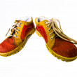 Stock Photo: Old red dirty boots