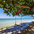 Swings at tropical beach. — Stock Photo