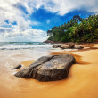 Tropical beach under gloomy sky — Stock Photo