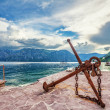 Old anchor on the waterfront — Stok fotoğraf
