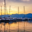 Sailing boats in marina at sunset. — Stock Photo #35619455