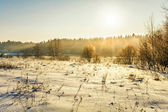 Sunset in winter field — Foto Stock