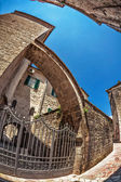 Fish-eye view of the old city on sky background — Stock Photo