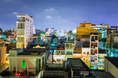 Night view of one of the oldest neighborhoods in Ho Chi Minh Cit — Stock Photo