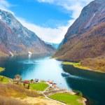 Naeroyfjord - fjord landscape in Sogn og Fjordane region. — Stock Photo #14829039