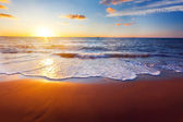 Zonsondergang en zee — Stockfoto