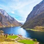 Naeroyfjord - fjord landscape in Sogn og Fjordane region. — Stock Photo