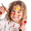 Girl, draws paint — Stock Photo #12159983