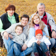 Big family in autumn park — Stock Photo