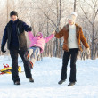 Family walking in a winter park — Stock Photo #13727987