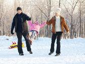 Familie wandelen in een winter park — Stockfoto