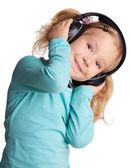 Dziewczynka w słuchawkach — Zdjęcie stockowe