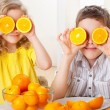 Royalty-Free Stock Photo: Children with oranges