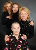 Four generations of women in a family — Stock Photo