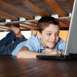 Child playing laptop under the bed — Stock Photo #22838184
