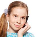 Fille, parler au téléphone — Photo