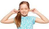 Fille fermé ses oreilles — Photo