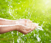 Stream of clean water pouring into children's hands — Stock Photo