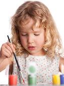 Girl, draws paint — Stock Photo