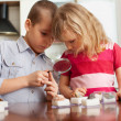 Children are considering magnifying glass collection of stones — Foto Stock #31293543