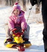 Dad lucky child on a sled — Stock Photo
