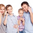 Family, speaking on the phone — Stock Photo