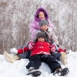 Happy children in winter park — Foto Stock