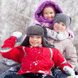 Happy children in winter park — Stock Photo