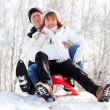 Stock Photo: Mature couple sledding