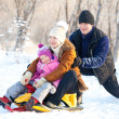 Family walking in a winter park — Stock Photo