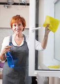 Woman cleaning window — Stock Photo