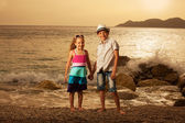 Children at sunset — Foto Stock