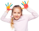Girl with painted palms — Stock Photo