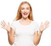 Woman at white background — Stock Photo
