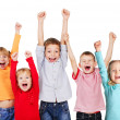 Happy kids with their hands up — Foto de Stock