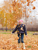 Girl at autumn — Stock Photo