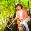 Woman grows harvest in the hothouse — Stock Photo #51366635