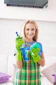 Limpiando la casa mujer — Foto de Stock