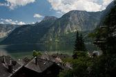 View on Hallstatt, Alps and lake — Stock Photo