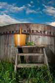 Bath Barrel with broom — Stok fotoğraf