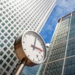 Foto Stock: Canary Wharf Clock. London, UK