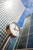 Canary Wharf Clock. London, UK — Stock Photo