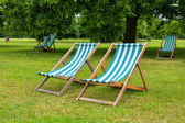 Deckchairs. London, UK — Stock Photo