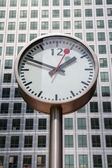 Canary Wharf Clock. London, UK — Stock Photo