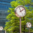 Canary Wharf Clocks. London, UK — Stok fotoğraf