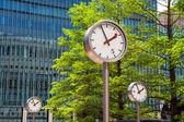 Canary Wharf Clocks. London, UK — Stock Photo