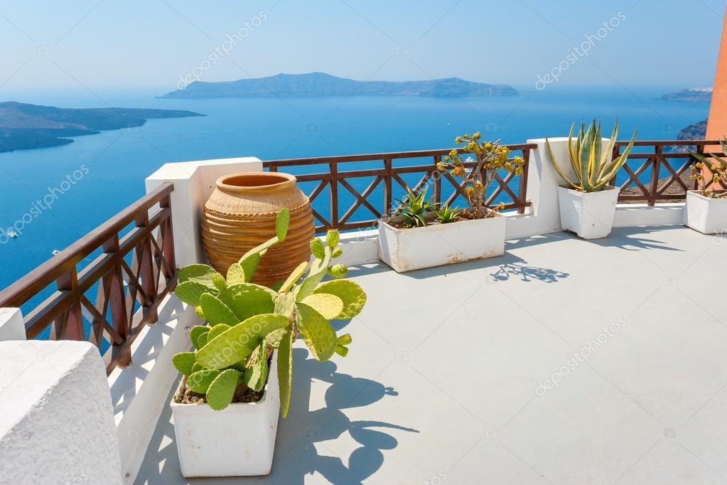 Terrasse Avec Vue Mer Fira Santorini Gr Ce Photo