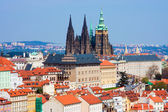 Prague panorama with St. Vitus Cathedral — Stok fotoğraf